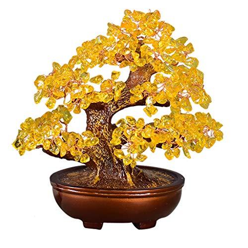 Ornamento de Escritorio Cristal del árbol del dinero de Feng Shui Bonsai for Fortune Dinero buena suerte curativo de equilibrio de la piedra preciosa citrina Árbol Home Office Decor don espiritual art