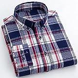 Camisas Hombres,Camisa A Cuadros De Algodón Camisas Casuales De Color De Cuadrícula De Rayas Clásicas para Hombre con Botones De Bolsillo Padre Novio, L