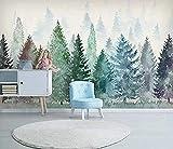 ZZXIAO Papel pintado de la foto del bosque de niebla de la acuarela Papel pintado artístico del fondo de la TV del paisaje para cocina Decoración Fotomural sala Pared Pintado Papel tapiz-430cm×300cm