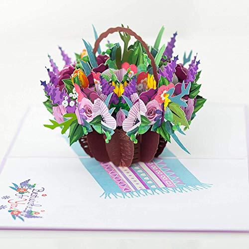 Flower Basket Mix Pop up Card, Flower 3d card, Pop up flower cards, Greeting Cards, 3D Card, Card...