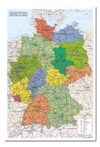 Deutschland Karte Kork mit Pins - 96.5 X 66 CMS 38 X 26)