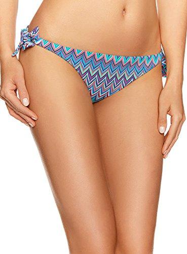 oodji Ultra Damen Bikinihose mit Geometrischem Druck, Türkis, DE 32 / EU 34 / XXS