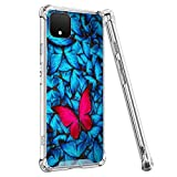 OOK Crystal Clear Case for Google Pixel 4 Case Butterfly Wallpaper Slim Fit Shockproof Heavy Duty Protection TPU with Hard PC Cover Wireless Charging Compatible Google Pixel 4 - Clear