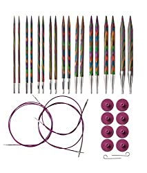 Rainbow Wood Circular Knitting Needle Set