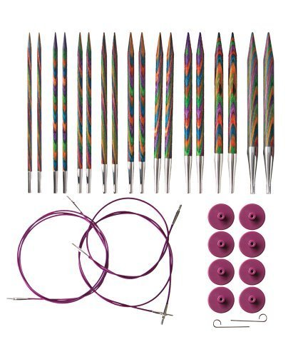Knit Picks Options Wood Interchangeable Knitting Needle Set - US 4-11 (Rainbow)