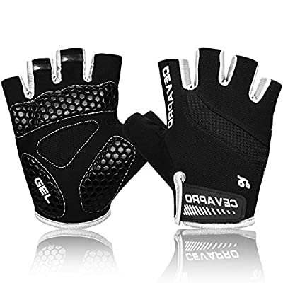 Cevapro Cycle Gloves Mountain Road Bike Gloves Half Finger Bicycle Gloves with Anti Slip Shock-Absorbing Gel Pad Cycling Riding Biking Gloves MTB DH Road Bicycling Gloves for Men Women (1Black, XL)