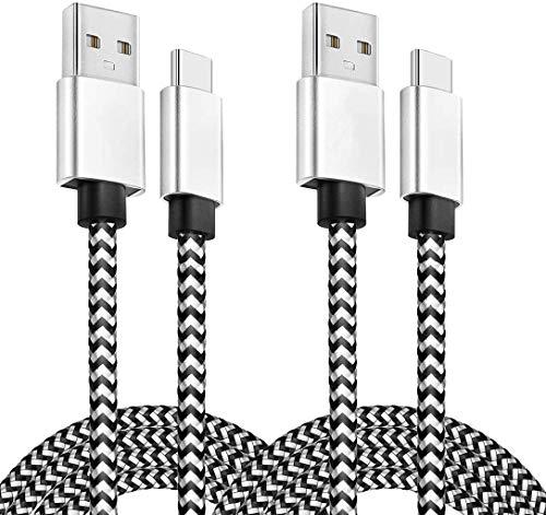YOREPEK Cavo USB C [2 Pack 2M 3M] Nylon Cavo Type C Ricarica Rapida Trasmissione Cavo USB Tipo C Compatibile per Samsung Galaxy S10 S9 S8 Plus Note10 9 8, Huawei P30 P20, Xiaomi, Google, LG, Sony