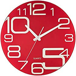 Bernhard Products Red Glass Wall Clock 12 Inch Decorative Silent Non Ticking Quality Quartz Battery Operated Round Large Unique Modern Design for Home Kitchen Living Room Bedroom Bathroom or Office