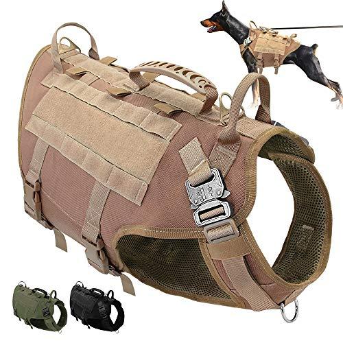 PET ARTIST K9 Hundegeschirr für mittelgroße und große Hunde, zum Wandern, kein Ziehen an der Vorderseite, Molle-Weste für Hunde, Braun, M(Chest 55-80cm)