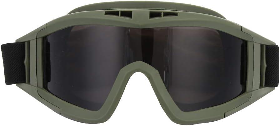 SANON Gafas de Motocicleta Gafas de Seguridad Tácticas Gafas de Airsoft con 2 Lentes Múltiples Intercambiables para Tiro/Paintball/Senderismo/Esquí/Equitación (Verde Militar)