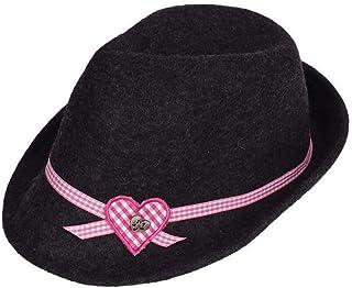 Isar-Trachten Damen Damen Trachtenhut mit Herz anthrazit, anthrazit,