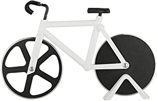 REAMTOP Bicycle Pizza Cutter - Dual Stainless Steel Non-Stick Cutting Wheels - Display Stand - A Very Cool Gift for the Kitchen