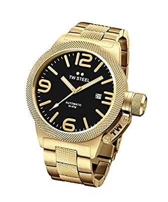 TW Steel Canteen Unisex reloj de cuarzo con negro Esfera Analógica Pantalla y Pulsera de oro rosa