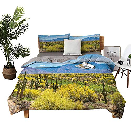 DRAGON VINES 4pcs Bedding Set Home Textile Series Bedding Queen Sheets Blooming Palo Verdes and Saguaros at Four Peaks Foothills Near Phoenix Arizona Image Blue Apartment Dormitory W80 xL90