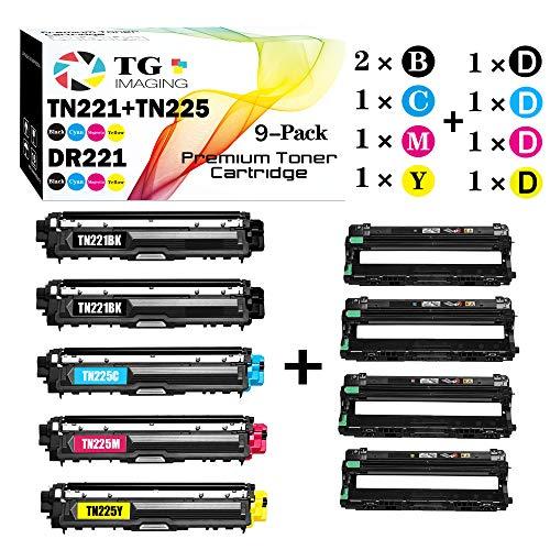 (9-Pack, Toner+Drum Set, Extra Black Toner) Compatible TN225 TN221 Toner Cartridge Plus DR221CL Drum Unit for Brother HL3170CDW, MFC9130CW Printer, Sold by TG Imaging