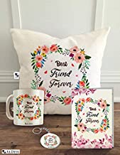 alDivo Best Friend Forever Printed Combo Gift Pack (12 inch x 12 inch Printed Cushion Cover with Filler + Printed Mug+ Printed Key Ring + Printed Greeting Card)