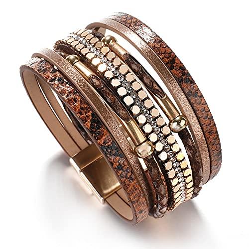 TTNM Amorcome Snakeskin Pattern Leather Bracelets for Women 2020 Trendy Metal Pipe Wide Multilayer Wrap Bracelet Female Jewelry (Metal Color: Brown)