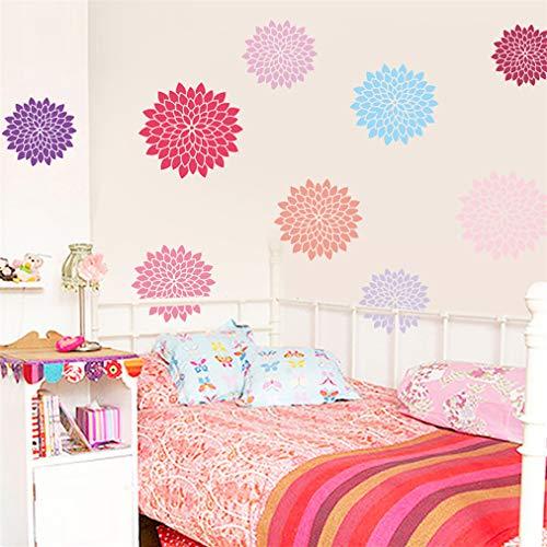 Muchkey - Adhesivo de pared 3D con diseño de flores coloridas en 3D, vinilo extraíble, impermeable, para dormitorio, sala de estar, ventana, baño, cocina, techos, muebles, 28 x 70 cm