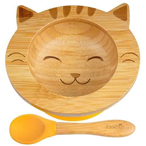 Bol Ventouse pour Bébé et Cuillère en Bambou Naturel | L'Original 'Bambol' par Finkolo | Forme Chat | Vaisselle Apprentissage | Coffret Repas Assiette…