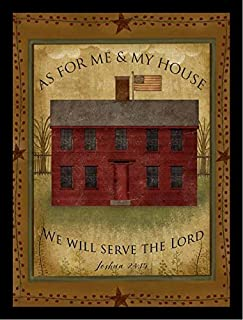 Buyartforless Framed Primitive House by Beth Albert 18x24 Art Print Poster Abstract Textual Home Sign Red House, As for Me & My House We Will Serve The Lord