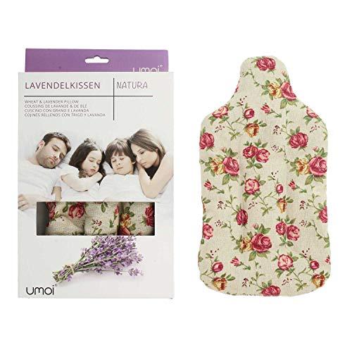 UMOI Lavendel & Weizen Kissen für Entspannung und Wohlbefinden zum Aufwärmen im Backofen oder Mikrowelle in Form einer Wärmflasche (Retro)
