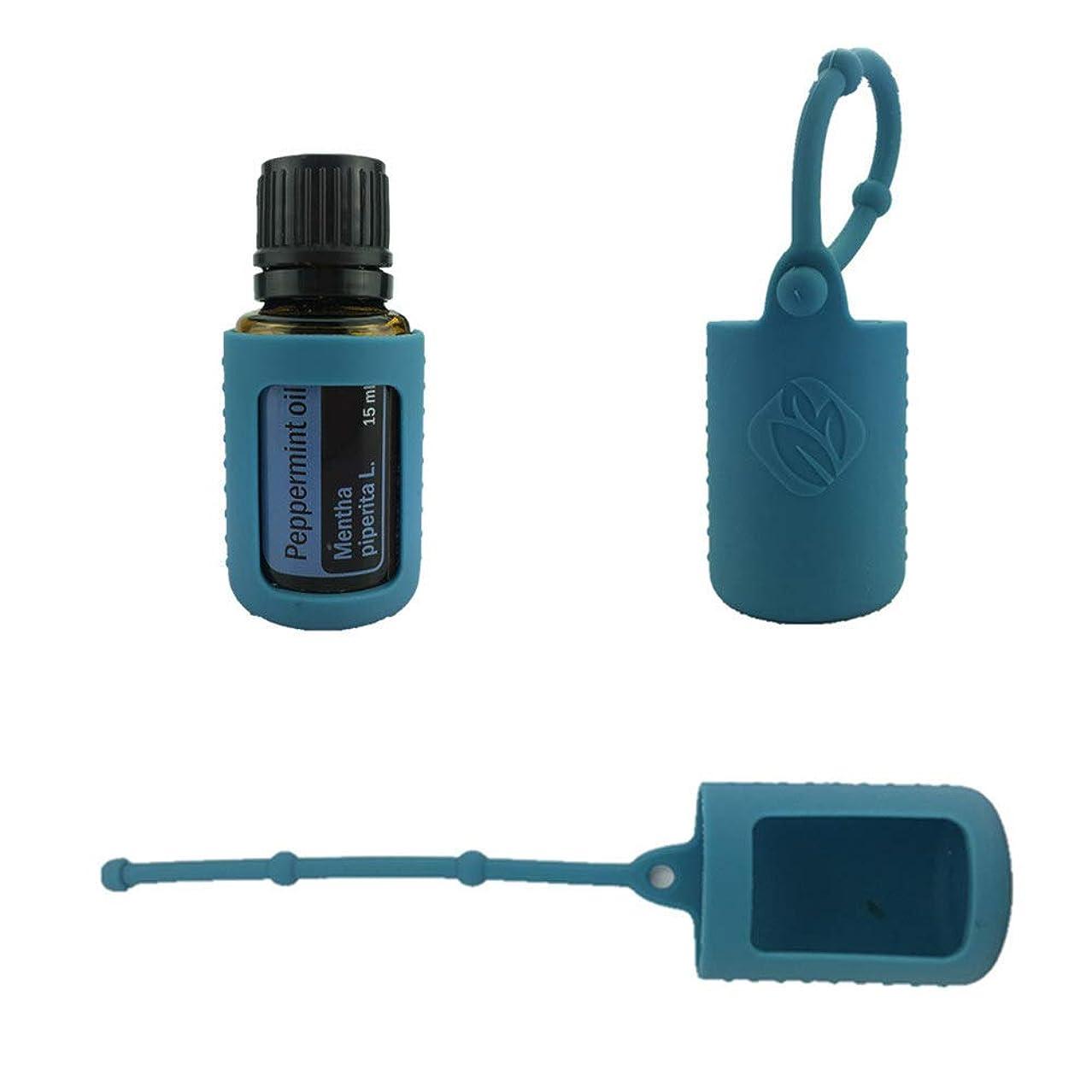 必要とする差実行する6パック熱望オイルボトルシリコンローラーボトルホルダースリーブエッセンシャルオイルボトル保護カバーケースハングロープ - ダンク ブルー - 6-pcs 5ml