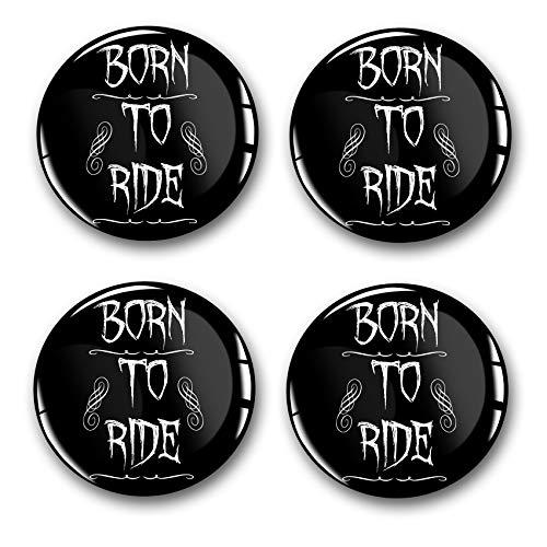 4 pegatinas de gel para tapacubos, 60 mm de diámetro, pegatinas para llantas, emblema Doming para coche, accesorios de tuning DM007 (n.º 14 Born to Ride, juego de pegatinas de gel)
