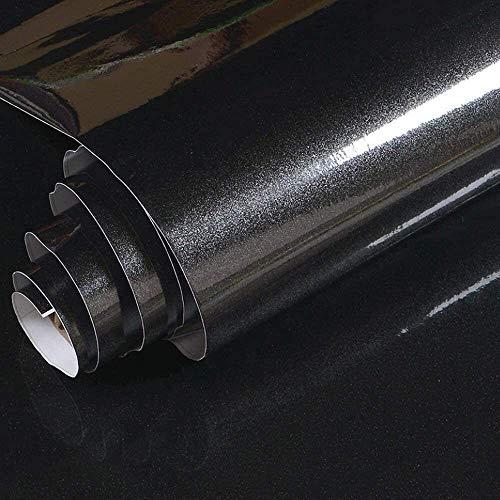 sknonr Perllegierende Tapete Aufkleber PVC Abnehmbare Selbstklebende Tapete Küche Countertops Möbelkabinett Aufkleber (Color : Black, Size : 0.6x3m)