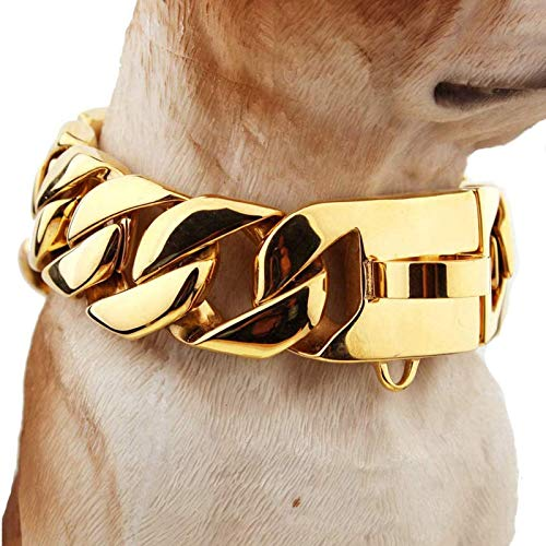 Leather Dog Collar for Large Dogs, Stainless Steel 30 Mm Strong Enough Dog Necklace Big Dog Mastiff Caslow Bully Dog Doberman Bulldog Best,Gold,65cm