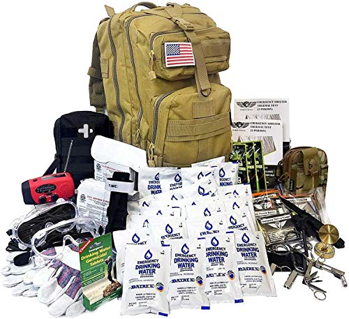 EVERLIT Complete 72 Hours for 2 People Earthquake Bug Out Bag Emergency Survival Kit. Be Prepared for Hurricanes, Floods, Tsunami, Other Disasters