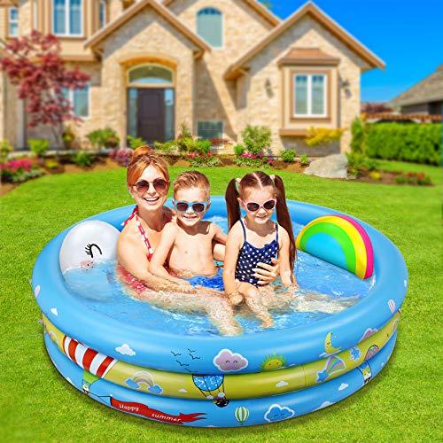 Jojoin Aufblasbares Planschbecken, übergroßes Baby-Sommerschwimmbad mit aufblasbarem Regenbogen-Poolspielzeug, Kinderwasserbecken im Innen- und Außenbereich für Kinder (120 cm * 30 cm)