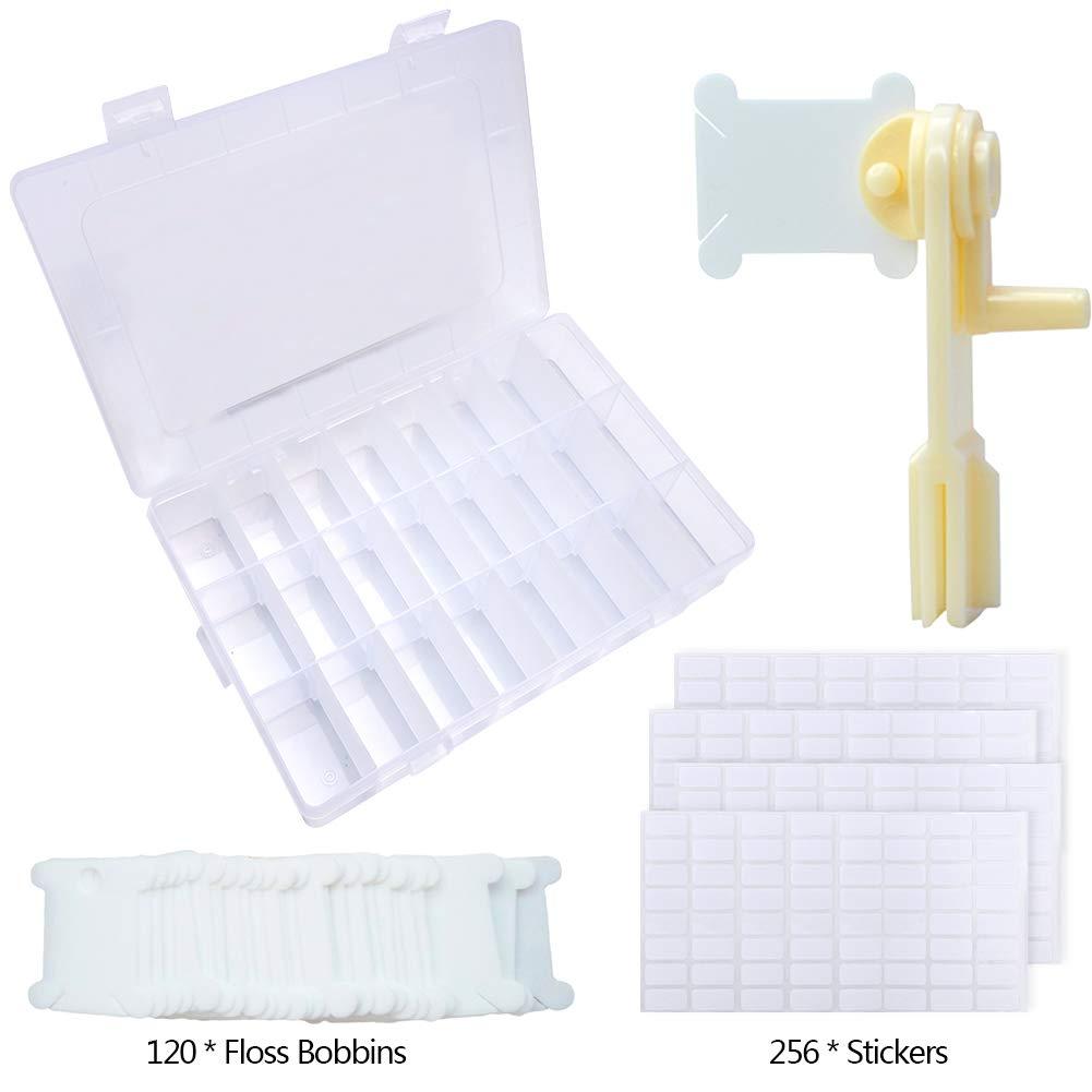 120 piezas de hilo de plástico blanco bobinas conjunto bordado hilo Bobinas con caja de almacenamiento