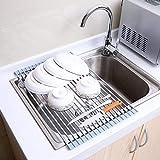 水切りラック 折り畳み式 抗菌 ステンレス 乾燥ラック 滑り止め キッチン用品 食器用 フルーツ 野菜 43cmx33cm