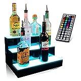 LSGMC 3 Tier LED beleuchteter Alkohol-Flasche Display Beleuchtetes Flasche Regal Acryl Weiß Bunte Beleuchtung Langlebige mit Fernbedienung für Hochzeit Weihnachtsfeier Club,60 * 33 * 21cm
