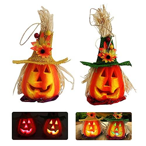 Linterna de Calabaza de Espuma de Halloween de 2 Piezas, Linterna Intermitente de Calabaza, Decoración de Luces, Accesorios Decorativos de Casa Embrujada, Suministros para Fiestas de Halloween