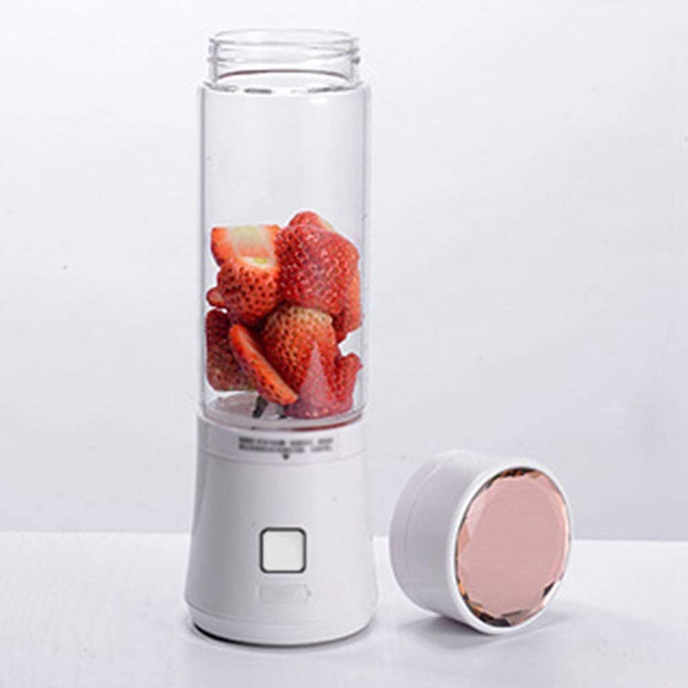 Allllllly Chcfr-jibji 480ml Mini USB Licuadora Exprimidor Botella de Cristal de 6 Cuchillas Frutas portátiles Mezclador for Picar Carne Juguera (Color : White) White