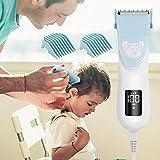 WADEO Baby Haarschneider, Schnurloser Kinder-Haarschneider Nagelschneider-Kit mit LCD-Anzeige für Kinder, USB Wiederaufladbare Haartrimmer mit Safe Ceramic Blade, Wasserdicht, 4 Schutzkamm