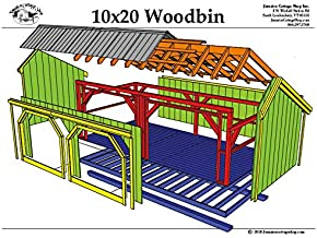 Timber Frame Post and Beam Wood Storage Shed Plans - 10x20 Woodbin - 8+ Cord Firewood Storage Rack - Step-By-Step DIY Plans (10x20)