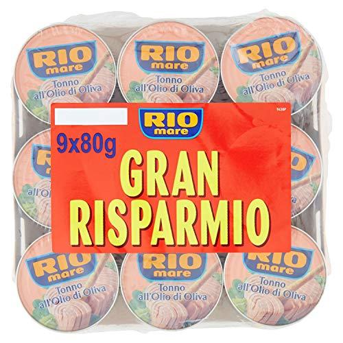 Rio Mare - Tonno all'Olio di Oliva, Qualità Pinne Gialle, 9 Lattine da 80 g