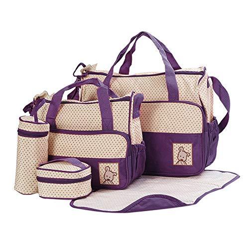 FREESOO Set 5 kits Bolsa de Mama para Bebe Biberon Cambiador de Pañales Bolsa Hospital Maternidad Bolso de Pañales Bebé para Viaje Carro Carrito Biberón Colchoneta Comida Multifunción Gran Capacidad