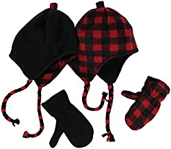N'Ice Caps Little Kids and Infants Reversible Hat and Mittens Fleece Skater Set (3-6 Years, Black Solid/Red Checker)
