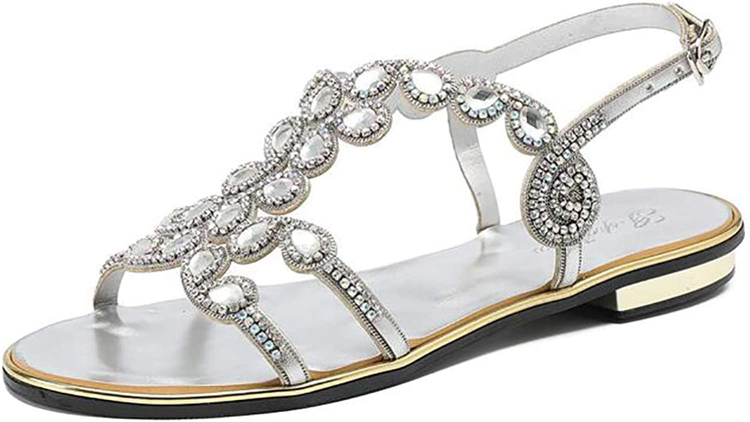 Women's Strappy Sandals Slippers with Rhinestones Glitter Wedding Prom