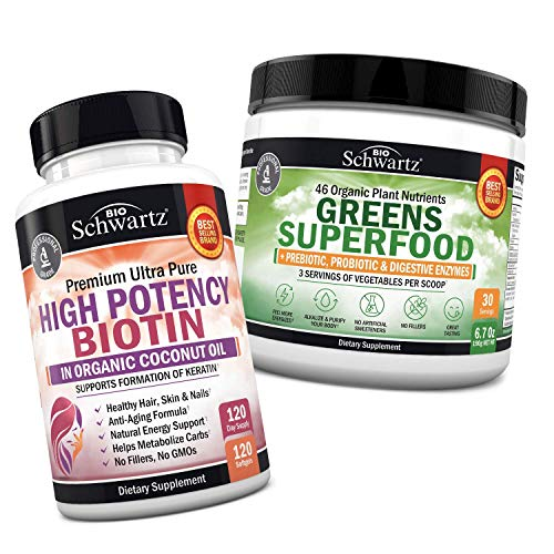 10000mcg Biotin with Organic Coconut Oil + Super Greens Powder - Stimulates Healthy Energy Levels- Supports Healthy Weight Management - Immune System Support