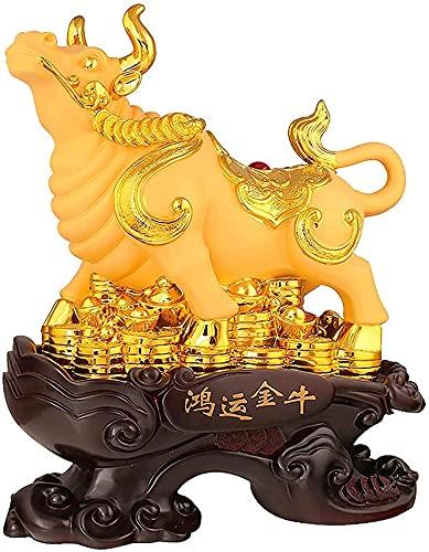 Vaca Escultura Ornamento Resina Riqueza Suerte hogar Oficina Escritorio Sala de Estar Estudio gabinete de Vino gabinete de televisión Entrada Porche Oro MUMUJIN (Size : 39X16X46CM)