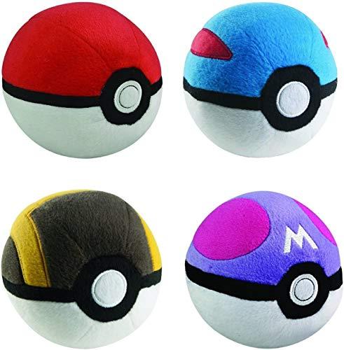 Pokeball Mini Poke Ball Collection 4pc Complete Plush Set GreatBall UltraBall MasterBall Mini for Kids