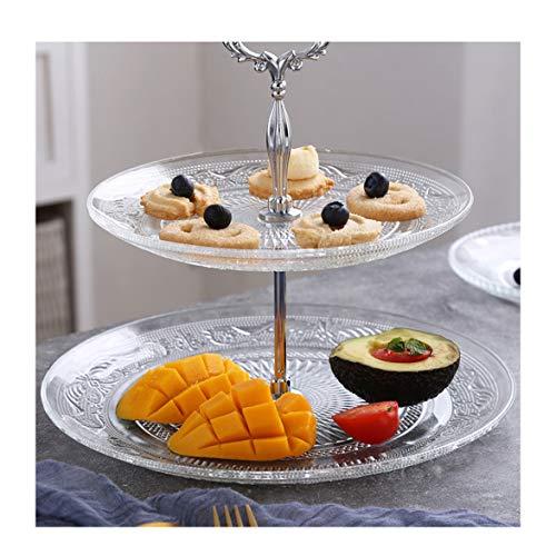TH26 3 Tier Basamento della Torta di Frutta Piastra Porta Display Maniglia Raccordi 2 Livello Crystal Clear Glass Fruttiera Kitchen Decoration (Size : 2 Layer)