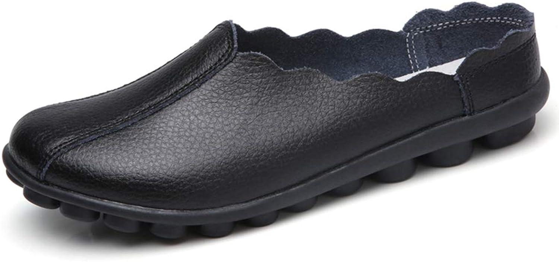August Jim Women Flats shoes,Leather Casual shoes Ladies Flower Breathable shoes