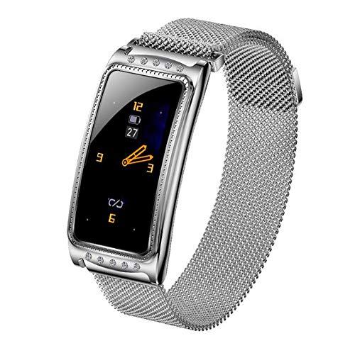 Smart Horloges van de Vrouwen IP68 Waterdichte Hartslag-monitoring Call Reminder Fitness Tracker voor Fitness armband Mannen Vrouwen Gift,Silver