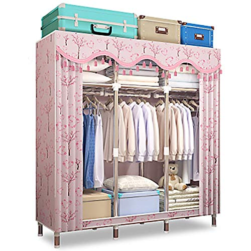 Great Price! WSZJJ Simple Wardrobe Folding Portable Closet Bold Reinforced Fabric Full Steel Frame M...