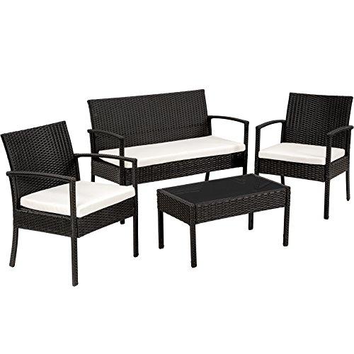 TecTake Conjunto Muebles de Jardín en Poly Ratan Sintetico - Negro 4 plazas, 2 sillones, 1 Mesa Baja, 1 Banco (Negro)
